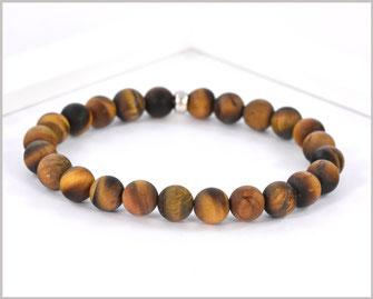 Edelsteinarmband für Männer mit Lava und Tigerauge