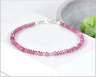 Turmalin Armband -rosa- Kegel  3 x 2  mm mit 925 Silber  36,90 €