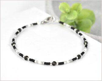 # Edelstein Armband mit 3 mm Schneeflocken-Obsidian kombiniert mit Myuki Perlen Mix 3  27,90 €