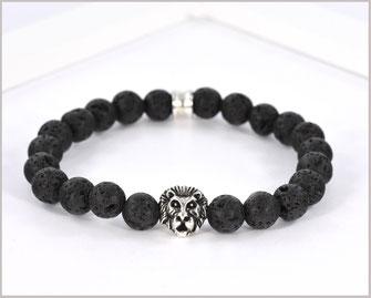 Edelsteinarmband für Männer mit Lava und Löwenkopf