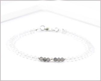 Bergkristall mit Rauchquarz Armband 3 mm  925 Silber  36,90 €