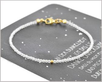 Bergkristall Edelstein Armband  2 mm 925 Silber / vergoldet  36,90 €