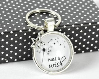 Schlüsselanhänger versilbert mit Sinnspruch Make a wish 2