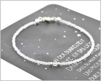 Bergkristall Edelstein Armband  2 + 3 mm 925 Silber  34,90 €