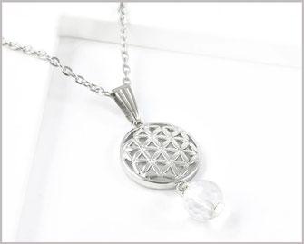 Edelstahl Kette mit Blume des Lebens Edelstein Bergkristall  15,90 €