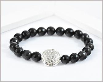 Obsidian Edelsteinarmband 8 mm mit  Blume des Lebens 925 Silber  29,90 €