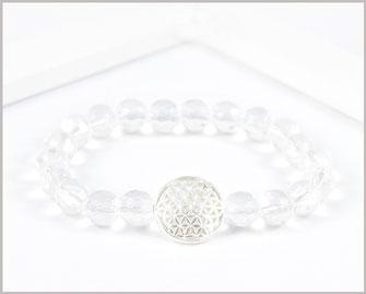 Bergkristall Edelstein Armband mit Blume des Lebens