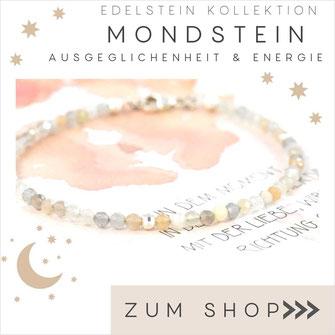 Mondstein helles Edelstein Armband und 925 Silber Verschluß