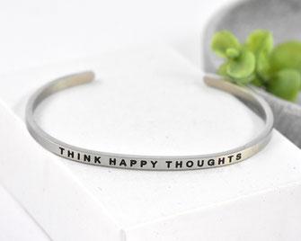 Edelstahlarmreif Think Happy Thoughts