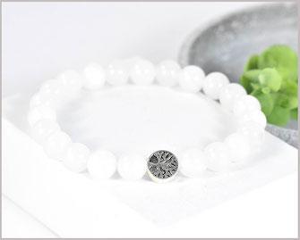 Jade weiß Edelstein Armband mit Lebensbaumperle  19,90 €