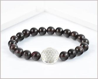 Granat Edelsteinarmband mit Blume des Lebens  925 Silber  29,90 €