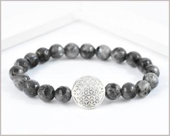 Labradorit Edelstein Armband mit  Blume des Lebens 925 Silber  29,90 €