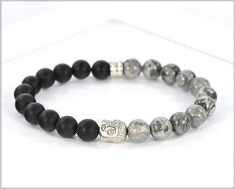 Edelsteinarmband für Männer mit Achat und Jaspis