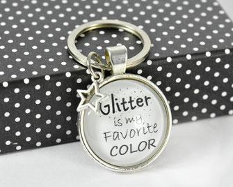 Schlüsselanhänger versilbert mit Sinnspruch Glitter
