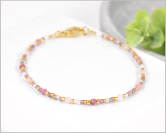 Turmalin + Rosenquarz Edelstein Armband  3 mm mit Mijuki Perlen Mix  28,90 €