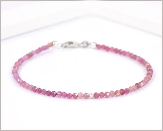 Turmalin rosa Edelstein Armband 2 mm mit  925 Silber  36,90 €