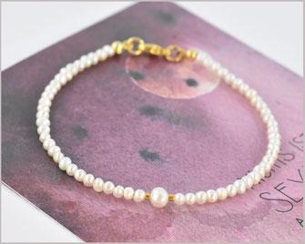 Süsswasser Perlen Armband 2 - 4 mm  925 Silber vergoldet  22,90 €