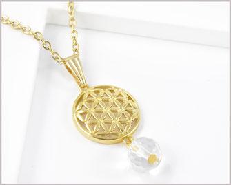 Edelstahl Kette vergoldet mit Blume des Lebens  Edelstein Bergkristall  15,90 €