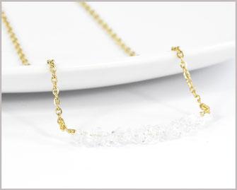 Bergkristallsplitter 3-7 mm Edelsteinkette mit Edelstahl - vergoldet - Länge wählbar  21,90 €