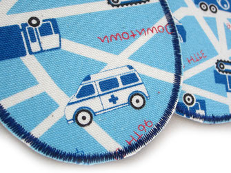 Bild: robuste Hosenflicken zum aufbügeln für Kinder, Auto Bügelbild blau