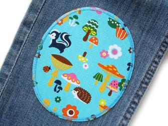 Bild: Flicken zum aufbügeln für Kinder, Knieflicken für Jeans mit Igel, Dachs und Pilzen