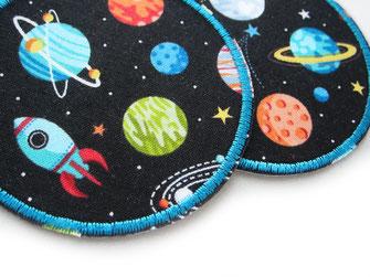Bild: Weltraum Hosenflicken zum aufbügeln für Kinder, Weltall Bügelflicken Planeten Raketen Bügelbilder