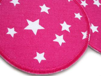 Bild: pinker Hosenflicken zum aufbügeln mit weißen Sternen, Stern Bügelflicken pink