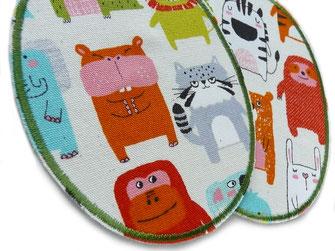 Bild: robuste Bügelflicken für Kinder mit Affe, Zebra, Nilpferd, Elefant