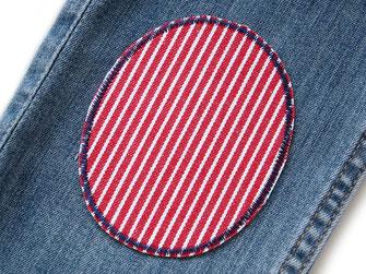 Bild: Jeansflicken zum aufbügeln rot gestreift, Oshkosh Hosenflicken für Kinder