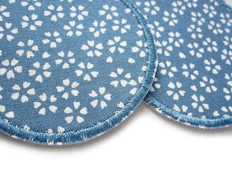 Stoffflicken mit Blumenmuster, Bügelflicken Knieflicken jeansblau