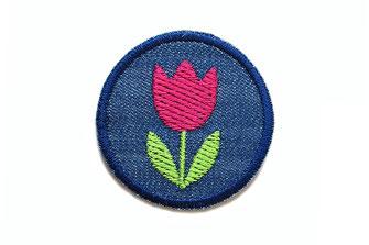 Bild: Jeans Knieflicken Hosenflicken Flicken Tulpe Applikation zum aufbügeln Accessoire