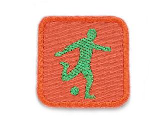 Fußballer Patch orange und grün, Flicken zum aufbügeln für Fußballer EM