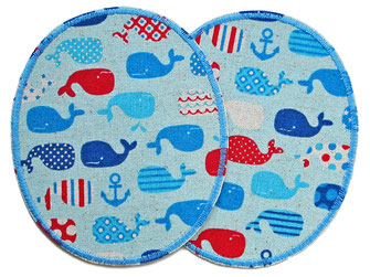 Set Hosenflicken Knieflicken Wal Flicken zum aufbügeln Bügelflicken für Jungen