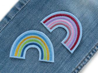 Bild: Regenbogen Aufnäher zum aufbügeln in pastell