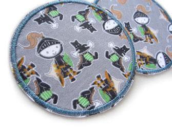 Bild: Bügelbild Aufbügelflicken Ritter mit Drachen grau, Hosenflicken für Kinder
