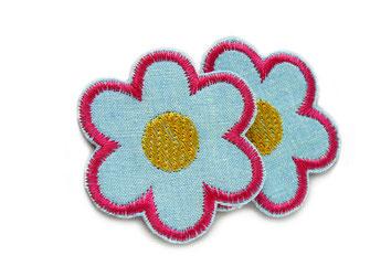Bild: Blumen Aufbügler im Retro Look zum aufbügeln als kleine Hosenflicken für Mädchen