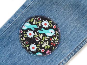 Bild: runde Flicken zum aufbügeln dunkelblau mit Bäumen und Pflanzen