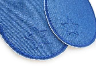 Bild: blaue Jeansflicken zum aufbügeln mit gesticktem Stern, Knieflicken Flicken für Kinder, Hosen nachhaltig mit Flicken reparieren