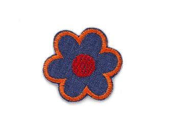 Bild: kleiner Blumen Aufnäher orange rot dunkelblau als Bügelbild