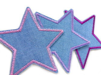 Bild: Stern Flicken zum aufbügeln aus Jeansstoff für Mädchen, Jeansflicken für Hosen, nachhaltig reparieren
