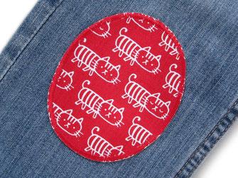 Bild: Knieflicken zum aufbügeln für Kinder mit Katzen, rote Hosenflicken Bügelflicken Bügelbilder Jeansflicken