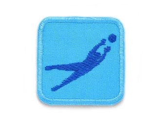 Bild: hellblauer Patch mit gesticktem Torwart, Fußball Flicken zum aufbügeln für Kinder