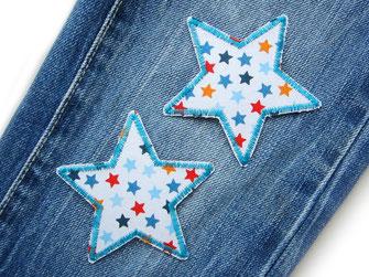 Bild: Stern Hosenflicken zum aufbügeln für Kinder bunte Sterne auf weiß