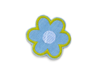 Bild: Blumen Jeansflicken hellblau gelb als Bügelflicken zum nachhaltigen Reparieren von Hosen