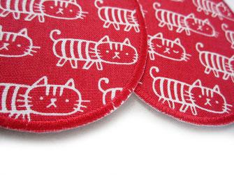 Bild: Katzen Flicken zum aufbügeln, rote Hosenflicken Jeansflicken für Kinder