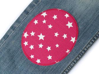 Bild: Knieflicken mit Sternchen in pink, pinke Hosenflicken zum aufbügeln für Mädchen