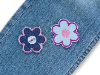 Bild: gestickte Blumen Patches zum aufbügeln als Hosenflicken
