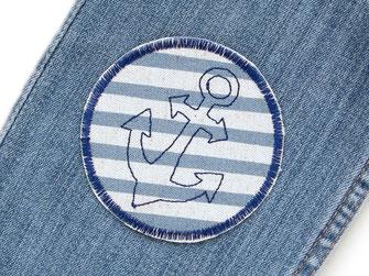Bild: Piraten Jeansflicken mit gesticktem Anker, maritimer blauer Flicken zum aufbügeln