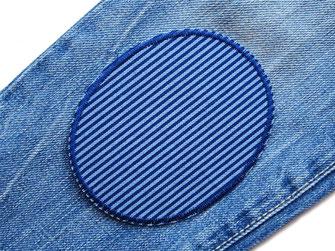 Bild: Jeansflicken blau gestreift, Flicken zum aufbügeln für Kinder