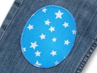 Bild: Knieflicken zum aufbügeln, Hosenlöcher einfach reparieren, Stern Bügelflicken hellblau